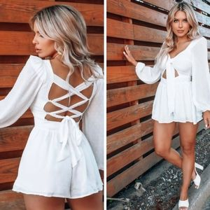 Hope's Swiss Dot Tie Front Lace Up Back Romper